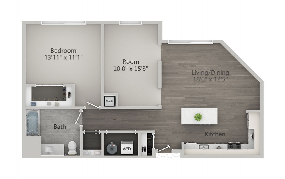 1 Bedroom + Den - 1 bedroom floorplan layout with 1 bath and 992 square feet.