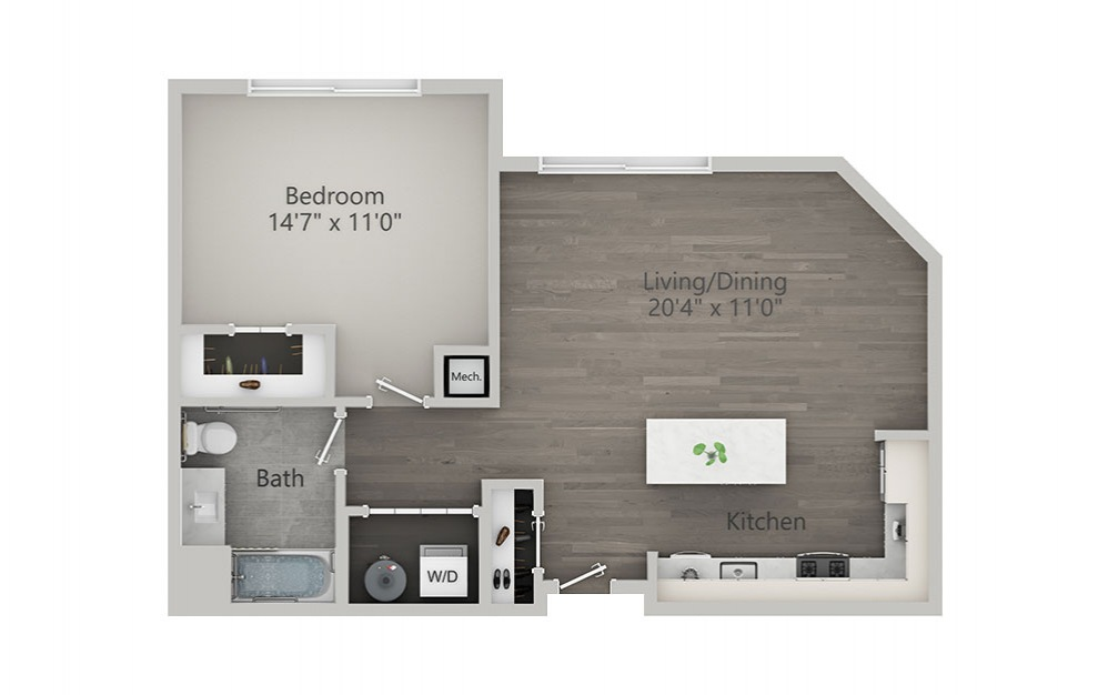 1 Bedroom - Type 2 - 1 bedroom floorplan layout with 1 bath and 815 square feet.