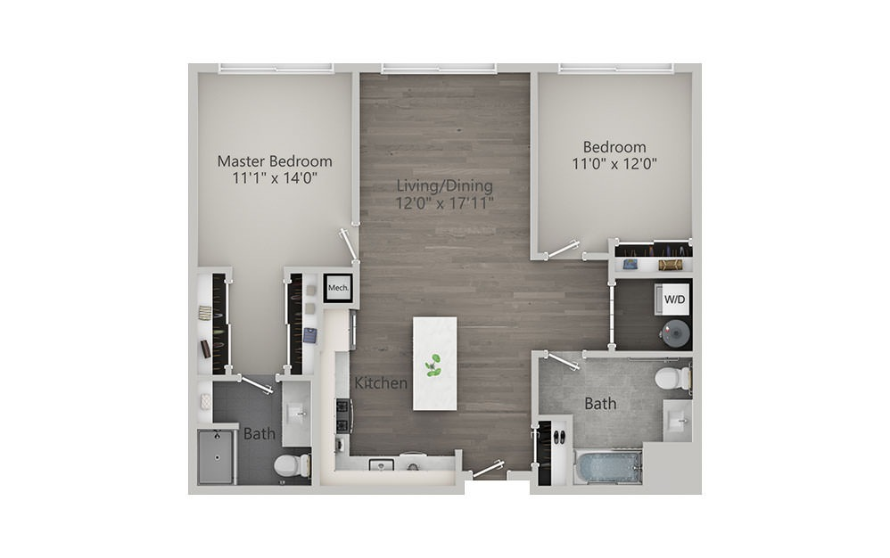 2 Bedroom - Type 1 - 2 bedroom floorplan layout with 2 baths and 1087 square feet.