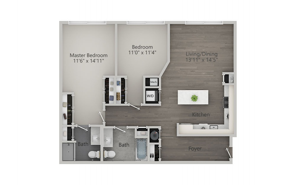 2 Bedroom - Type 2 - 2 bedroom floorplan layout with 2 baths and 1161 square feet.