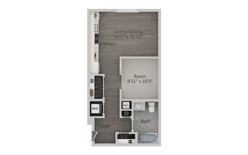 Alcove Studio - Type 1 - Studio floorplan layout with 1 bath and 560 square feet.