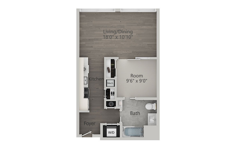 Alcove Studio - Type 2 - Studio floorplan layout with 1 bath and 573 square feet.
